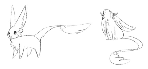 Concept sketch of Floriettes with photoreceptors (the leafy whisker things)